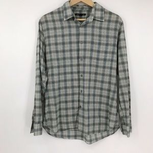 John Varvatos Long Sleeve Button Shirt Green Plaid